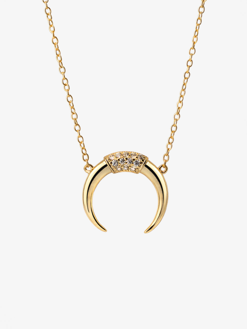HORN GOLD CZ NECKLACE