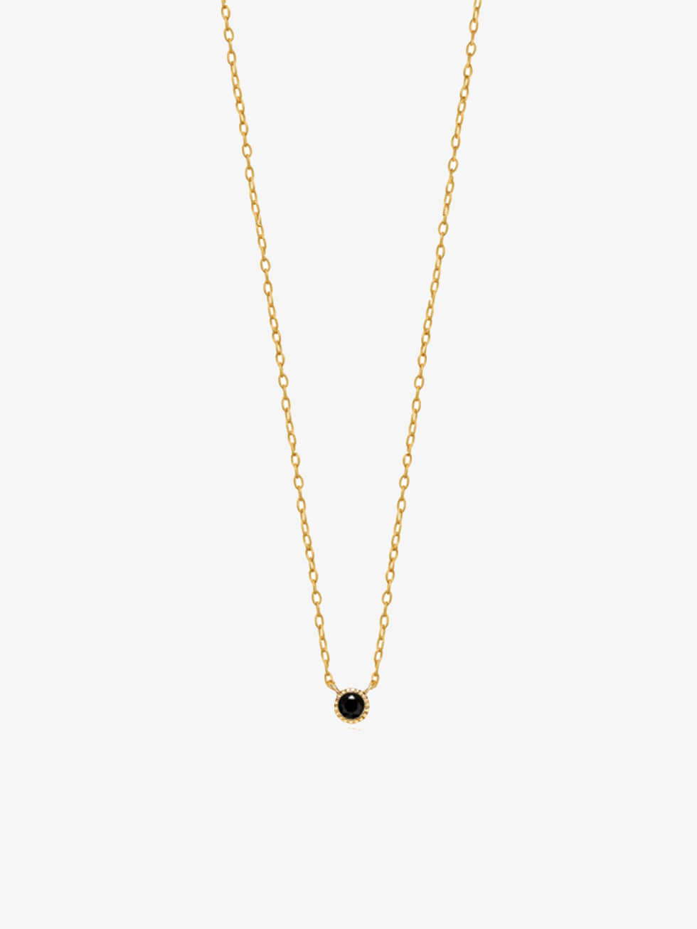 Basic gold necklace black CZ