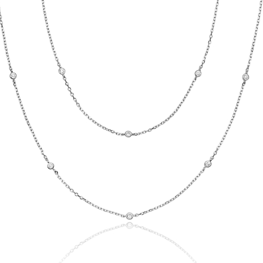 LONG CZ slv necklace