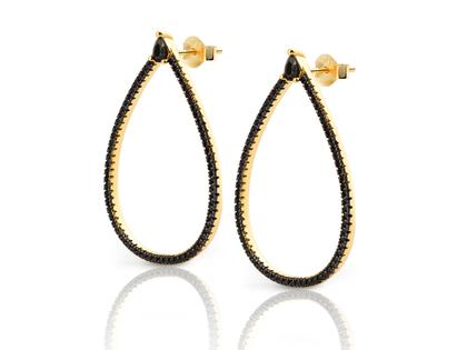 BLACK CZ TEARDROP earrings
