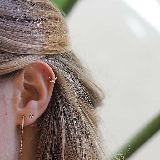 Boucle d'oreille X EAR CUFF or
