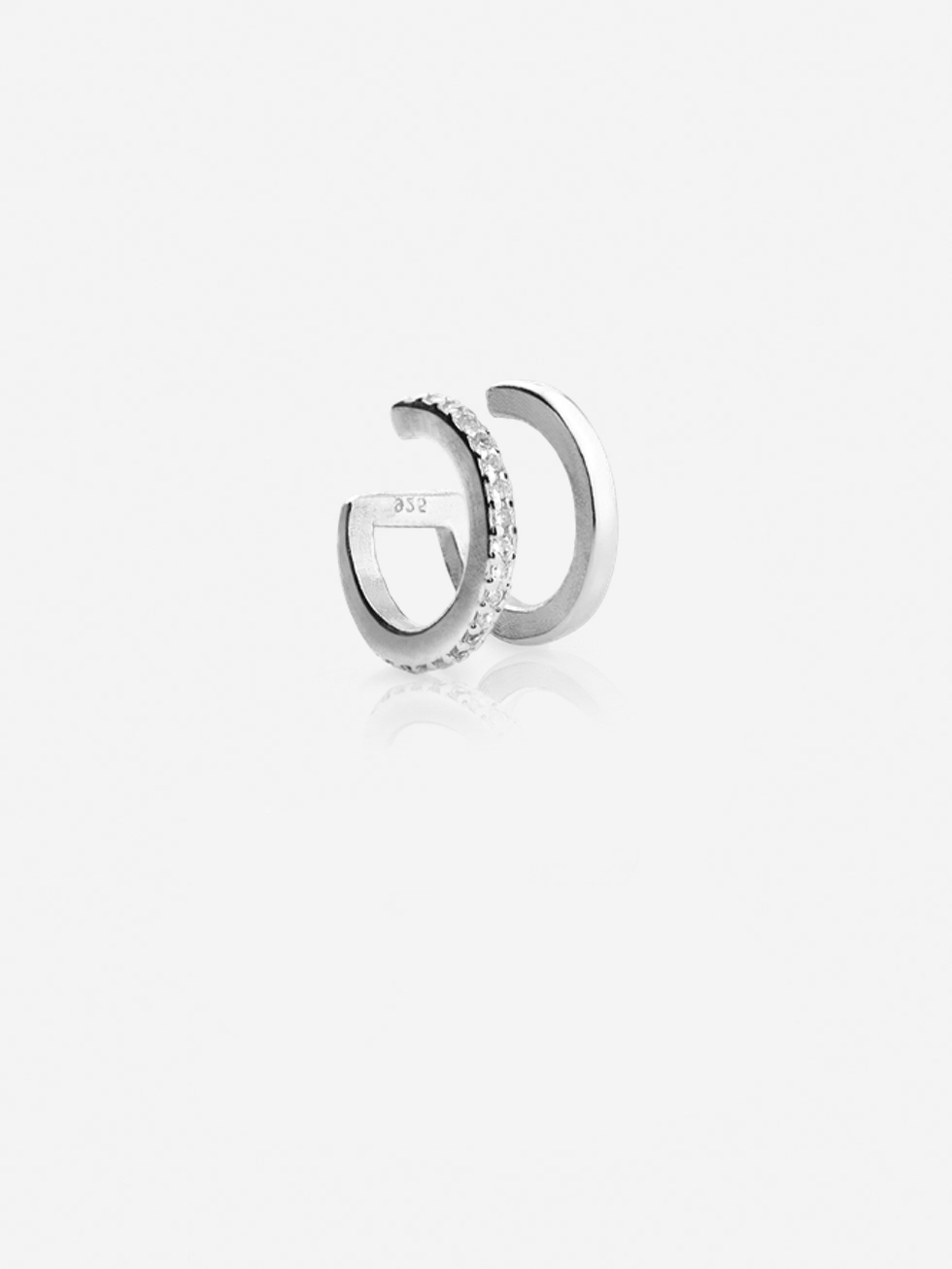 Silver ear cuff doble with cz