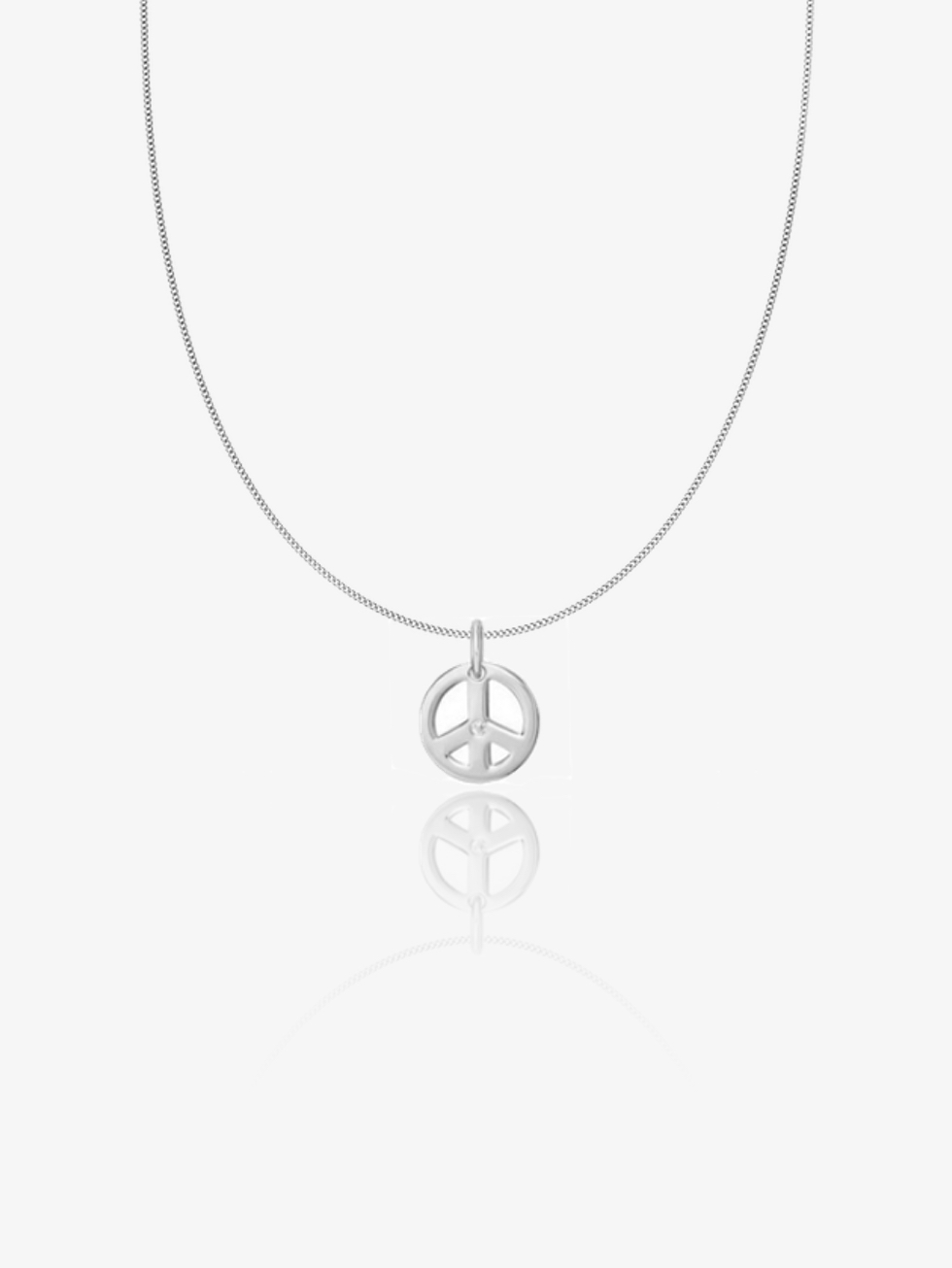 PEACE silver necklace CZ