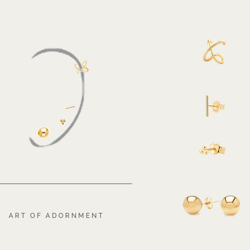 SET LITTLE EARRINGS GOLD