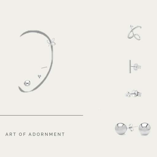 SET LITTLE EARRINGS SILVER