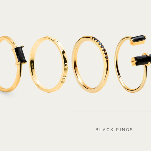 SET BLACK RINGS GOLD