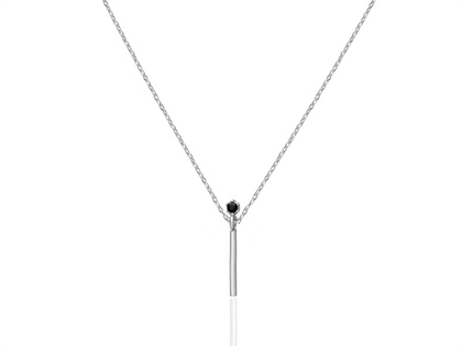 BAR black cz silver necklace