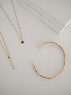BAR Black CZ gold necklace