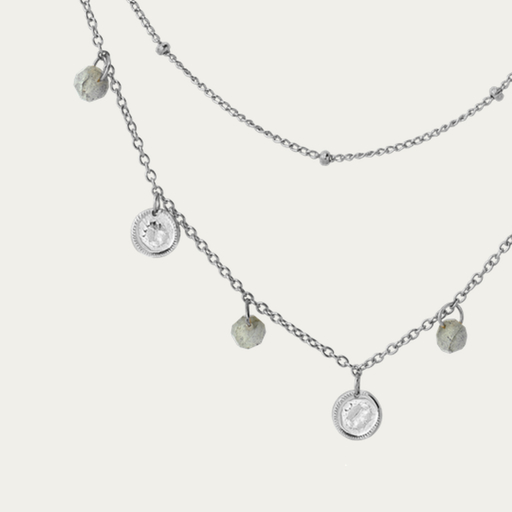 LABRADORITE COINS silver necklace