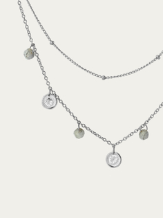LABRADORITE COINS silver necklace