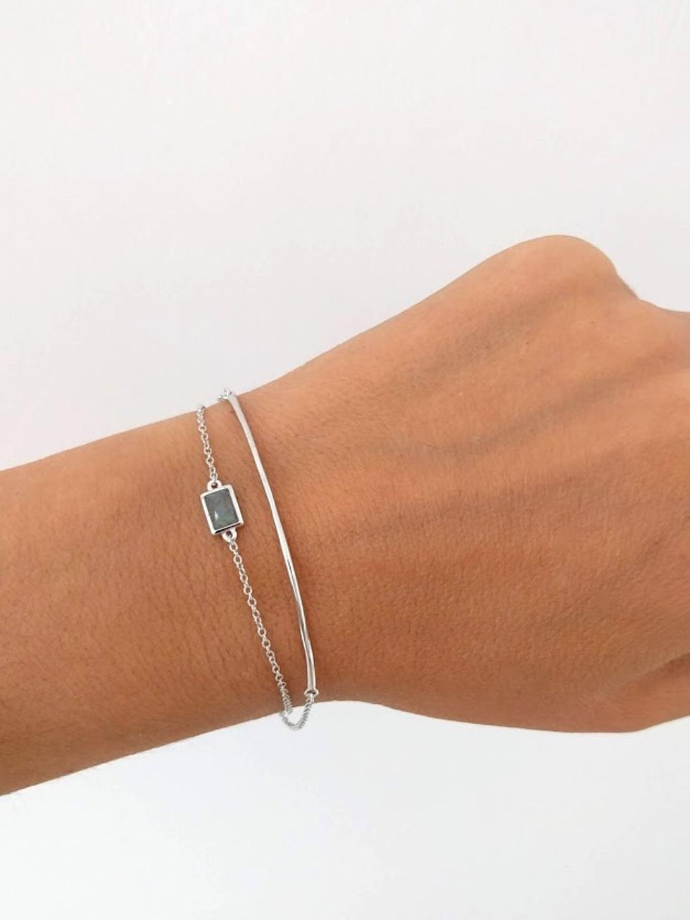 Pulsera line stone silver mod