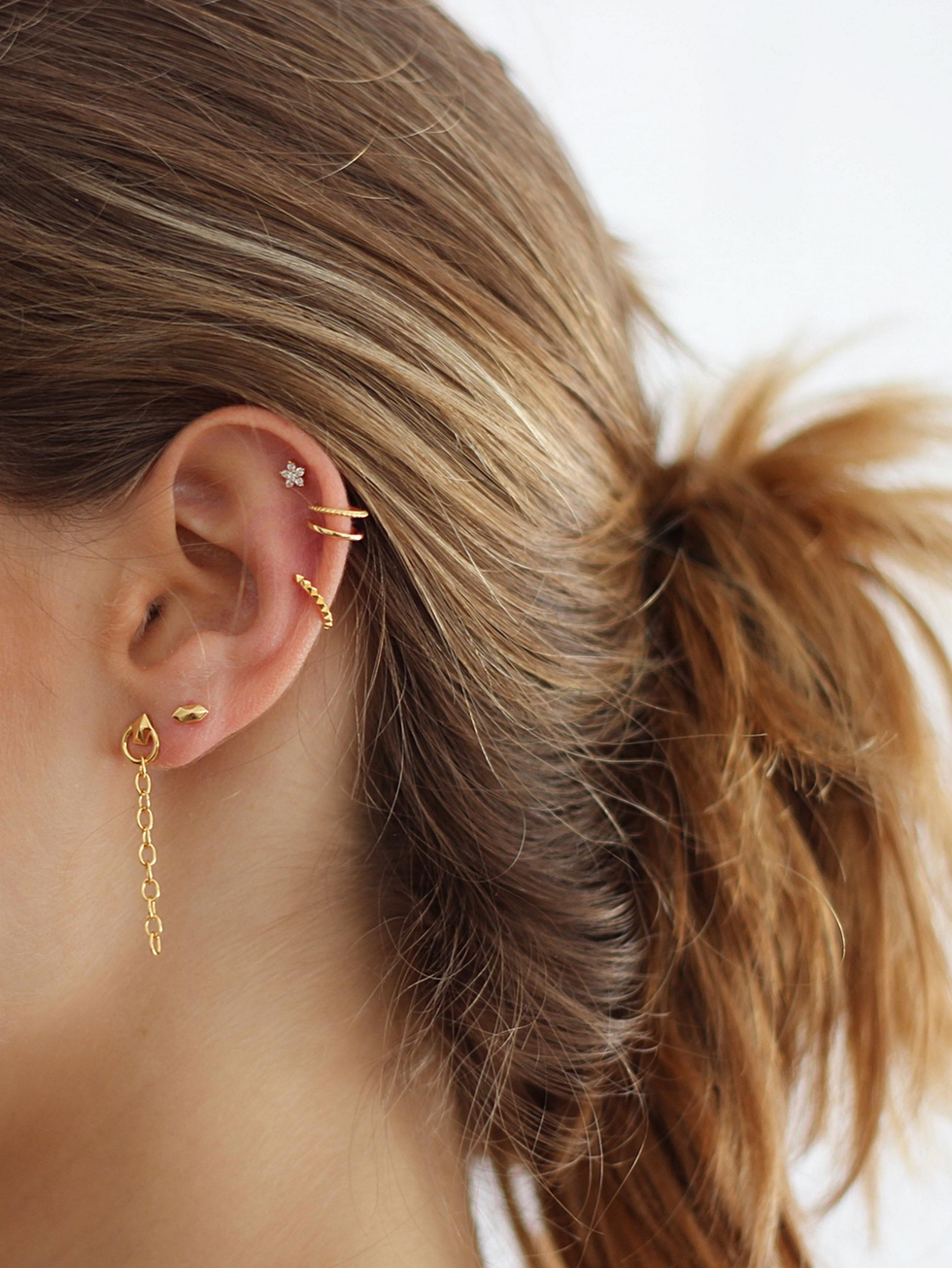 PYRAMID gold EAR CUFF