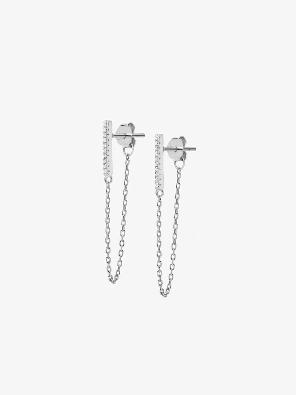 Pendientes cz cadena silver gris