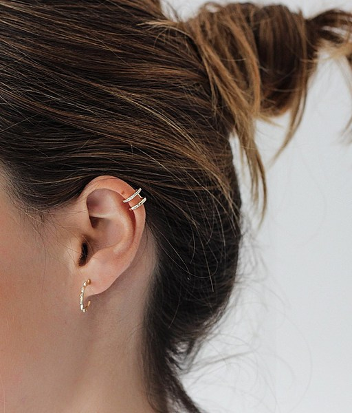 Double gold ear cuff doble with cz