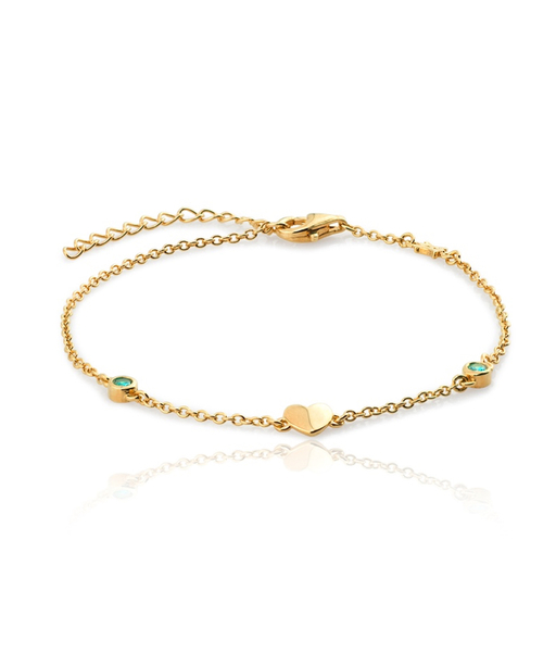 BLUE HEART gold bracelet