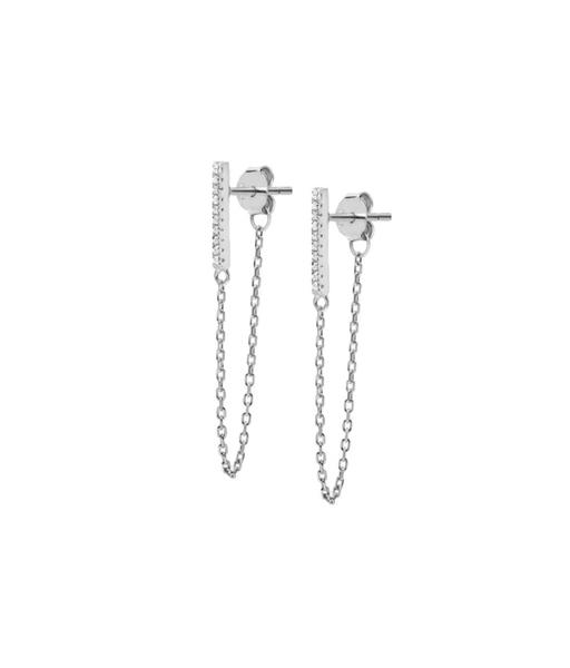Boucles d'oreilles chain silver Cz