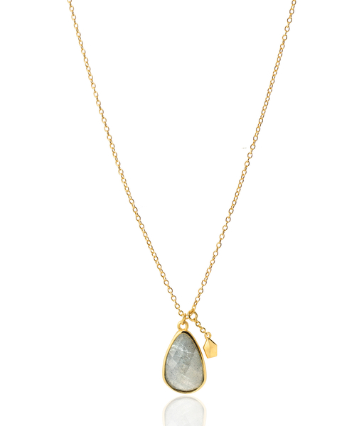 LABRADORITE STONE gold necklace