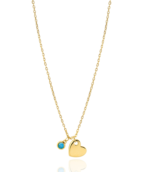 BLUE HEART gold necklace