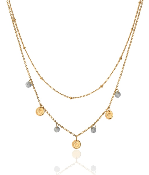LABRADORITE COINS gold necklace
