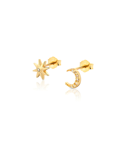 SUN MOON gold earrings