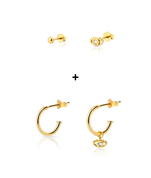COMBO EYE gold earrings