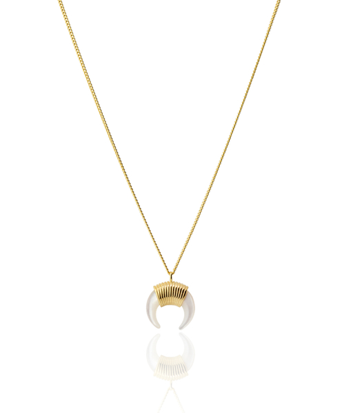 White Horn necklace Gold Plated