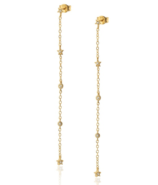 STAR LONG CHAIN gold earrings