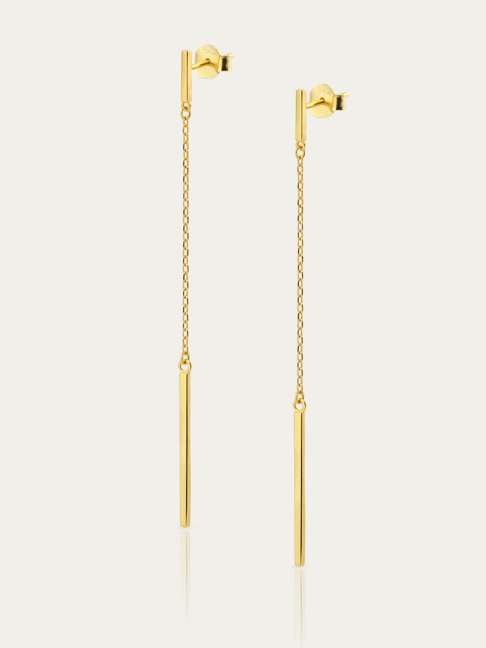 LINE CHAIN gold earrings