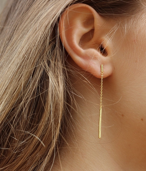 Boucles d'oreilles LINE CHAIN or
