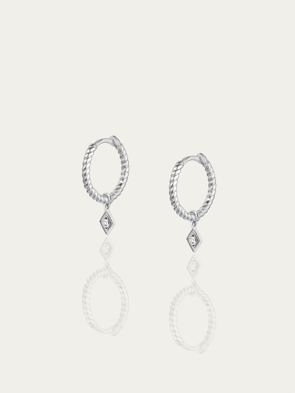 ROMBO TWIST silver hoop earrings