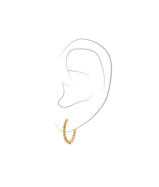 TWISTED 14mm gold earring