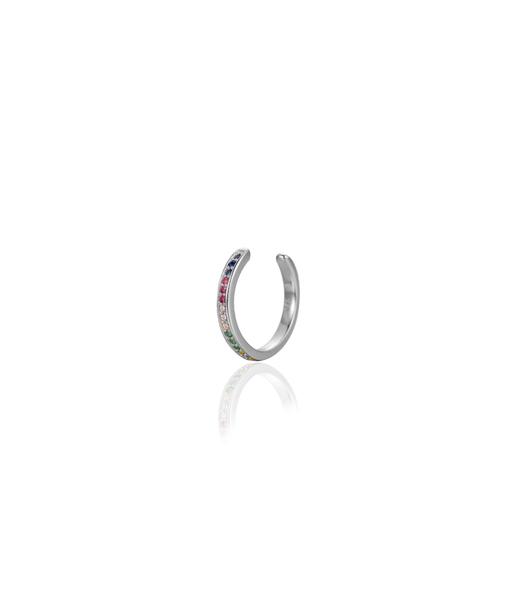 RAINBOW silver ear cuff