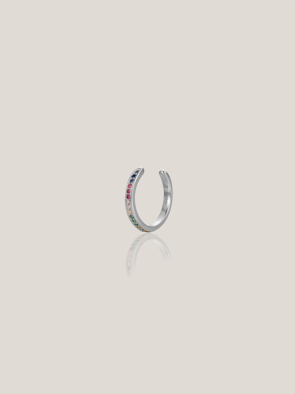 Pendientes rainbow ear cuff silver2