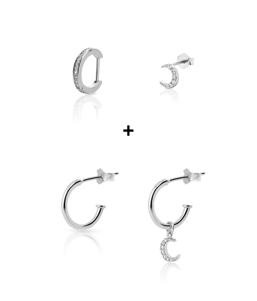 COMBO LUNA silver earrings