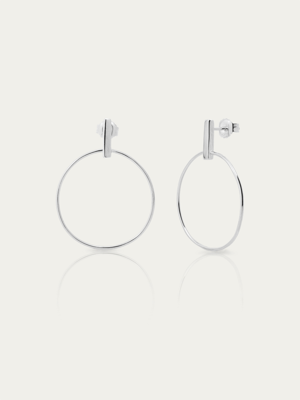 STICK CIRCLE silver earrings