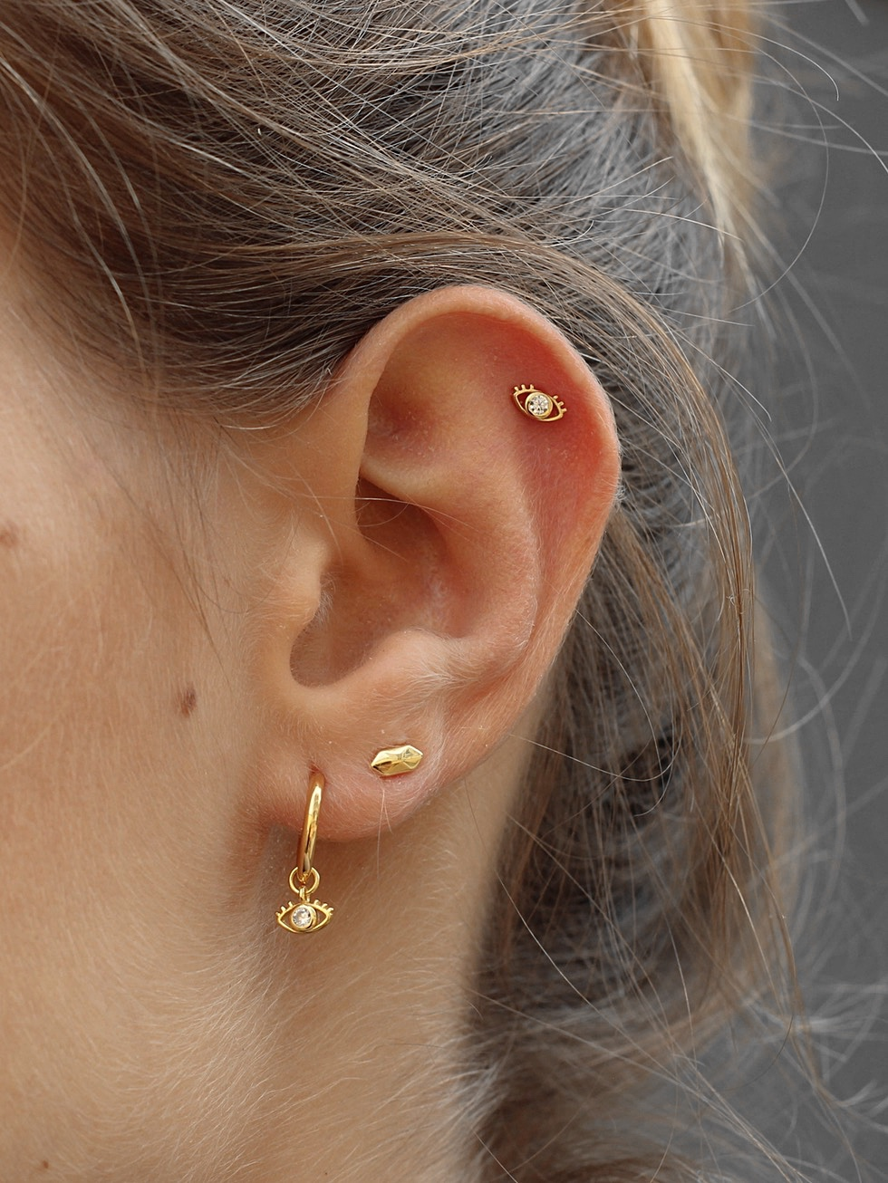 Tiny EYE stud gold earrings