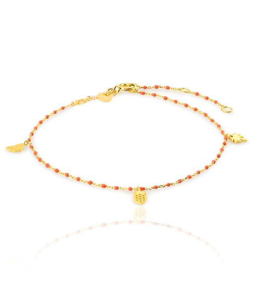 CORAL gold ankle bracelet