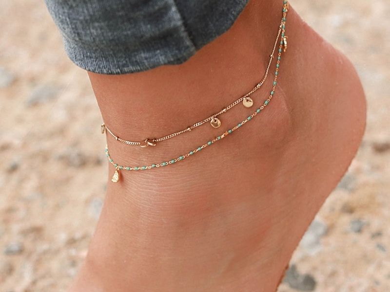 Blue gold ankle bracelet