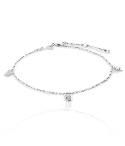 WHITE silver ankle bracelet