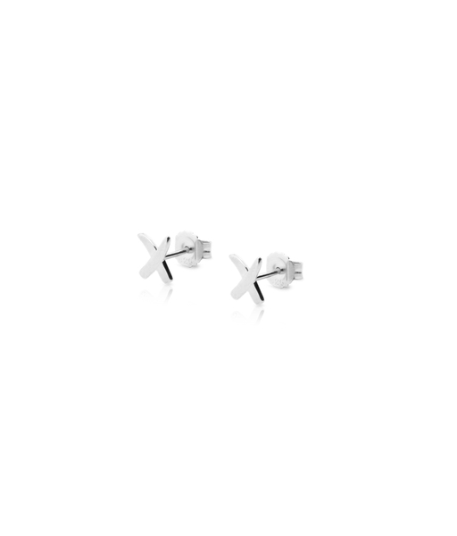 Maxi X stud silver earrings