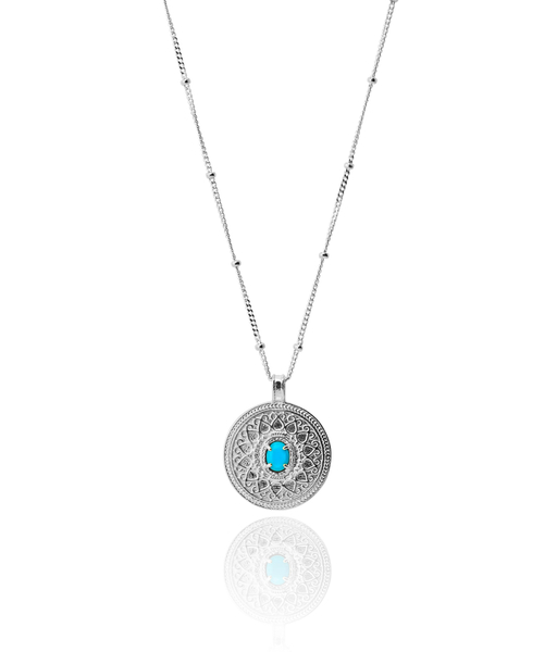 BLUE COIN silver Necklace