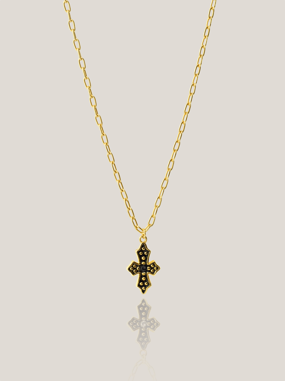 BLACK CROSS gold necklace