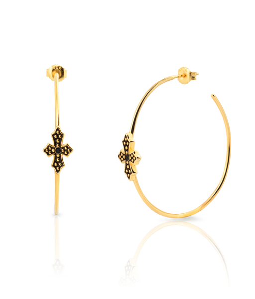 Boucles d'oreilles BLACK CROSS 50 or