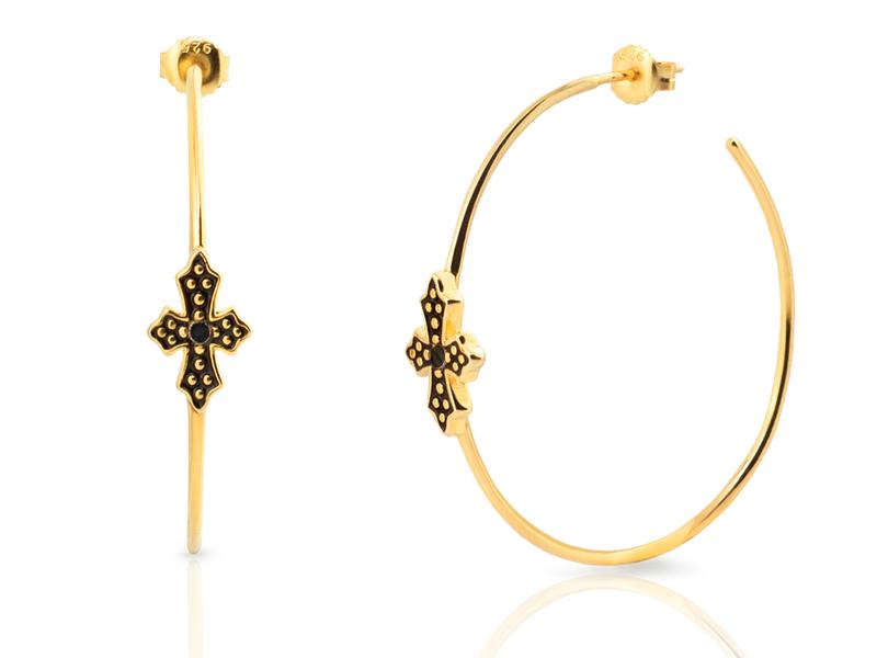 BLACK CROSS 50 gold earrings