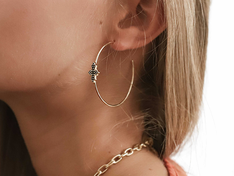 Boucles d'oreilles BLACK CROSS 50 or