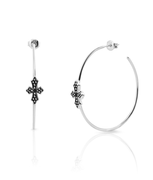 BLACK CROSS 50 silver hoops earrings