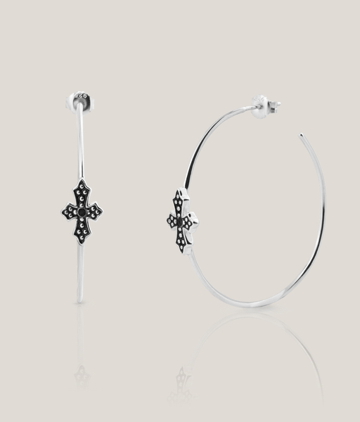 PENDIENTES BLACK CROSS 50 plata