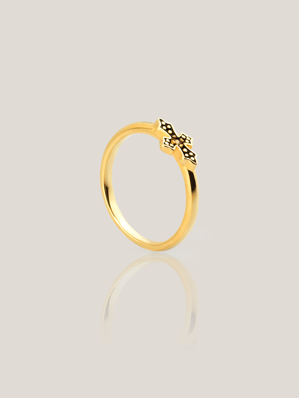Anillo black cross gold2
