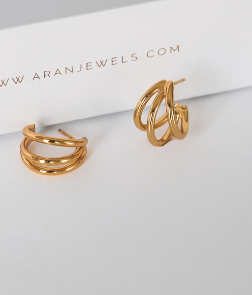 TRIPLE HOOP gold earrings