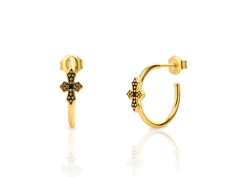 Pendientes MINI BLACK CROSS oro
